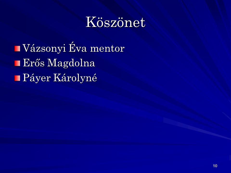 10 Köszönet Vázsonyi Éva mentor Erős Magdolna Páyer Károlyné