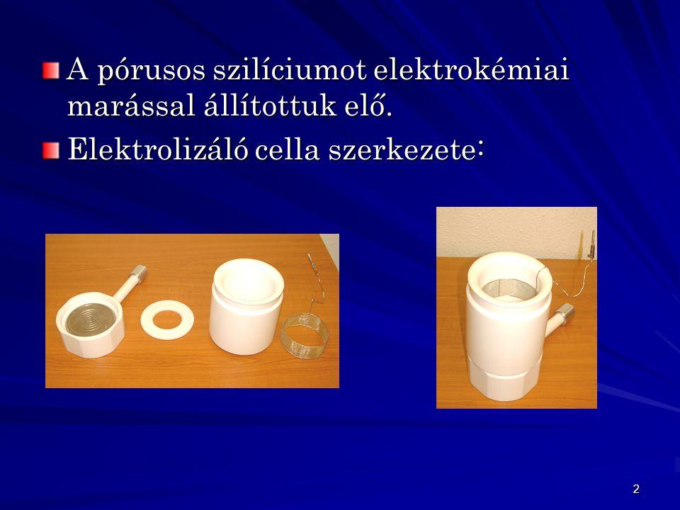 2 A pórusos szilíciumot elektrokémiai marással állítottuk elő. Elektrolizáló cella szerkezete: