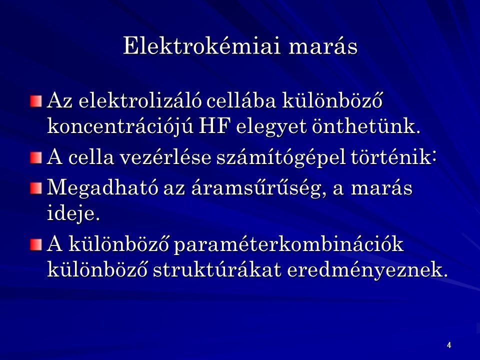 4 Elektrokémiai marás Az elektrolizáló cellába különböző koncentrációjú HF elegyet önthetünk.