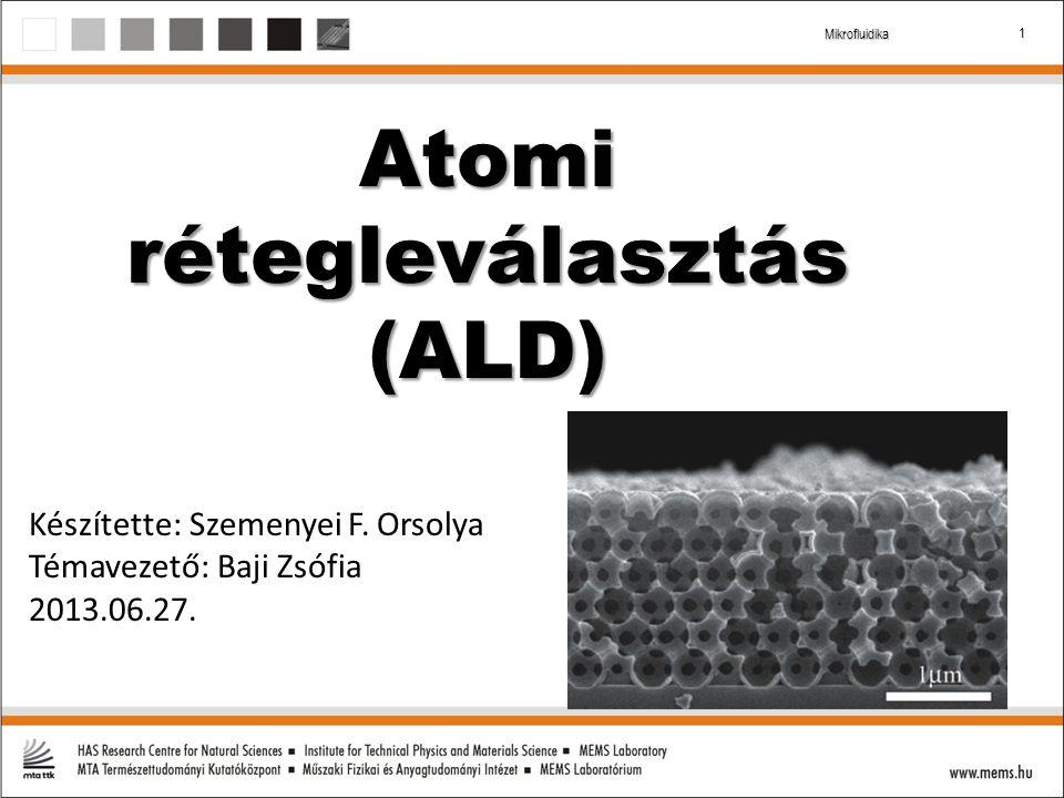 2 Mikrofluidika Az ALD lépései 1.Prekurzor kemiszorbeálódik a felületen 2.Reaktor tisztítása (nitrogén) 3.Újabb reagens, reakció a felületen 4.Újabb tisztítás
