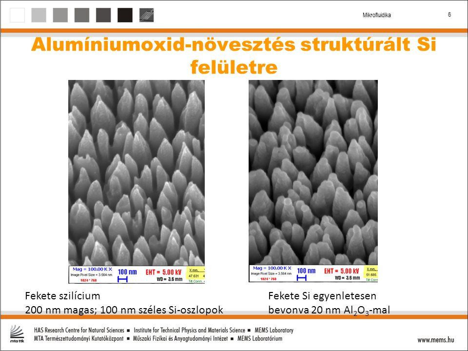 6 Mikrofluidika Fekete szilícium 200 nm magas; 100 nm széles Si-oszlopok Fekete Si egyenletesen bevonva 20 nm Al 2 O 3 -mal Alumíniumoxid-növesztés struktúrált Si felületre