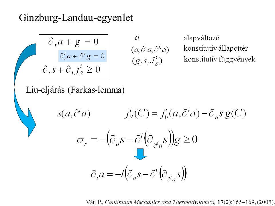 Ginzburg-Landau (szokásos variációs) – II. főtétel? – variációs, de miért? –