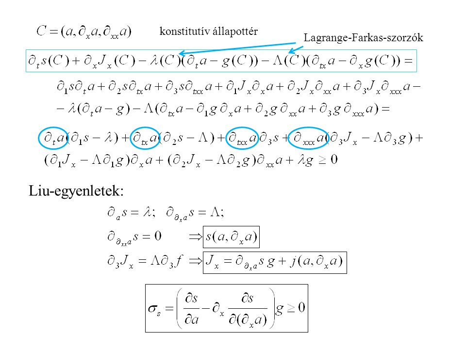 Ginzburg-Landau-egyenlet Liu-eljárás (Farkas-lemma) konstitutív állapottér konstitutív függvények Ván P., Continuum Mechanics and Thermodynamics, 17(2