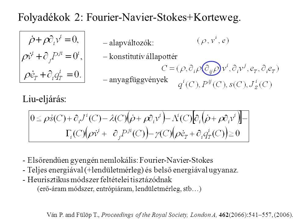 Történet: Farkas Gyula (1894) és I-Shih Liu (1972) lineáris algebra Új : A kényszer deriváltja is kényszer. Az entrópiaáram konstitutív. Müller-féle K