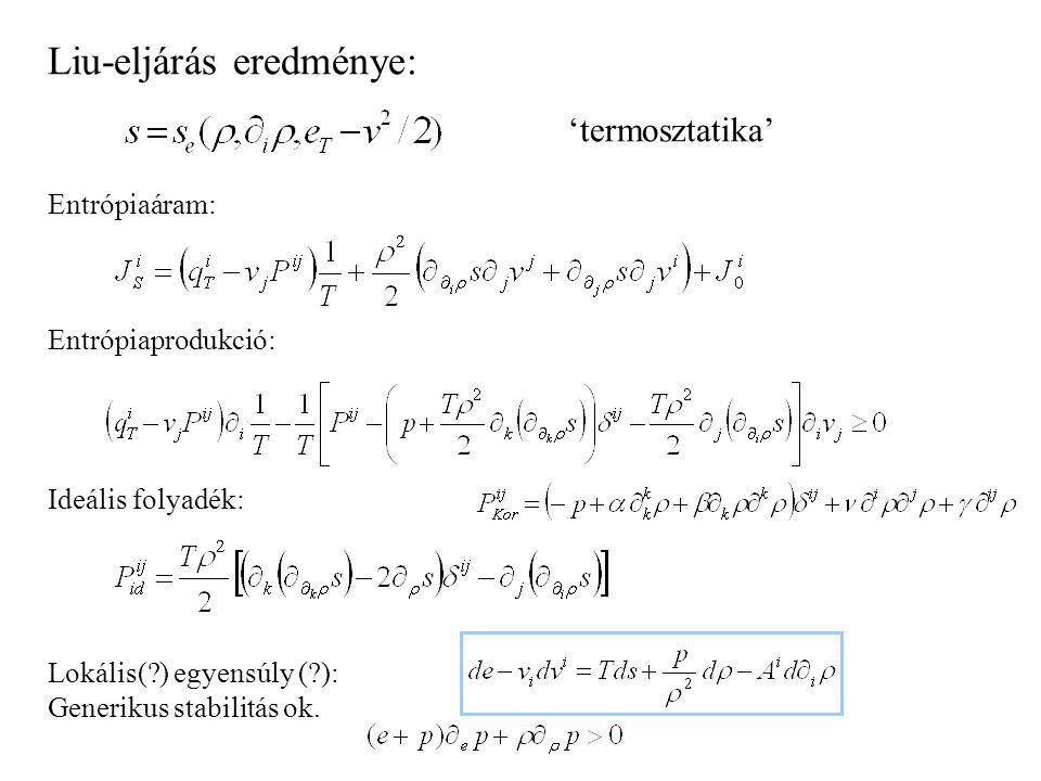 Liu-eljárás: - Elsőrendűen gyengén nemlokális: Fourier-Navier-Stokes - Teljes energiával (+lendületmérleg) és belső energiával ugyanaz. - Heurisztikus