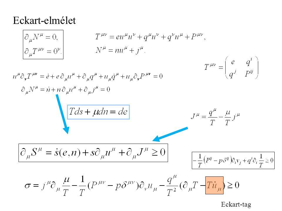Folyadékok 3: Fourier-Navier-Stokes+Eckart Történet: homogén (?) Planck-Einstein (1907), Tolman, Laue, Pauli, Eddington ?Ott (1963), Landsberg, van Ka