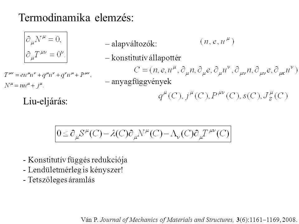 Erők és áramok + izotrópia: FourierNavier-Stokes Feltételek (problémák): – erő-áram rendszer – entrópiaáram – mérleg: kényszer, lendületmérleg nem? –
