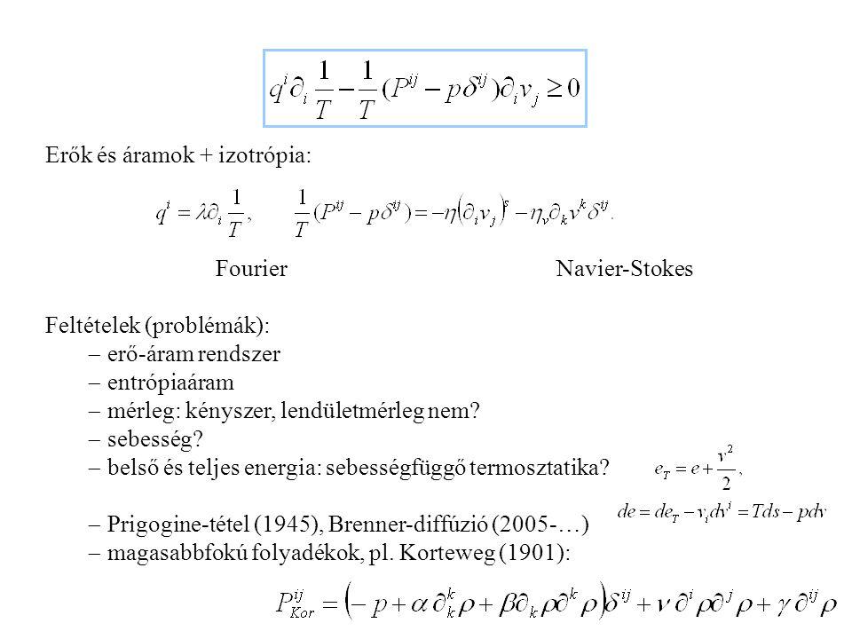 Lokális egyensúly: Folyadékok 1: Fourier-Navier-Stokes Entrópiamérleg: – alapváltozók: – konstitutív állapottér – anyagfüggvények