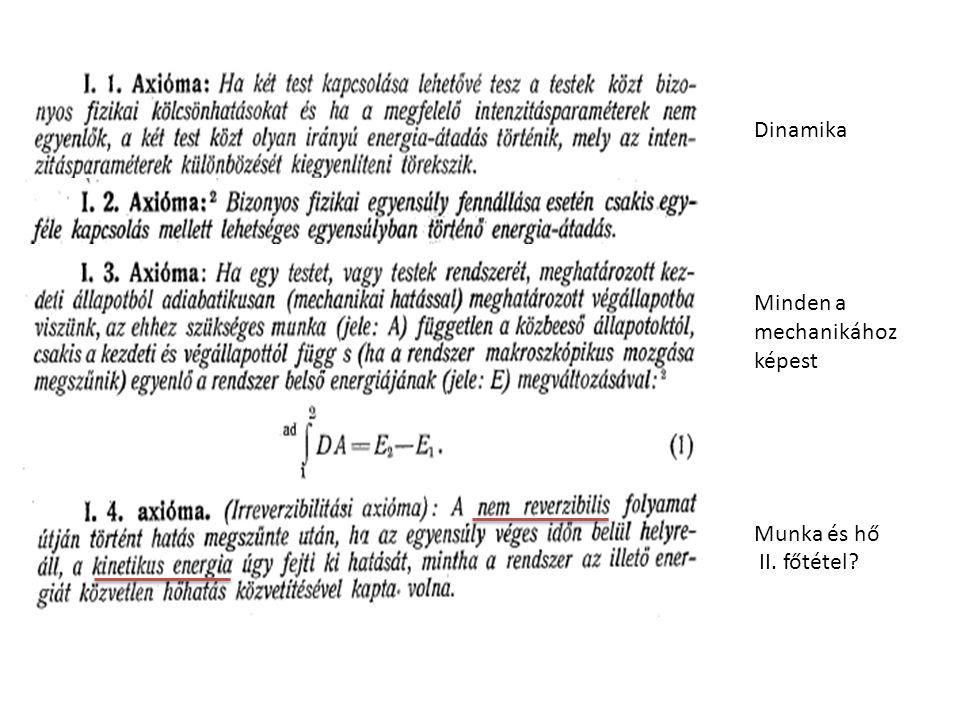 Dinamika Minden a mechanikához képest Munka és hő II. főtétel?