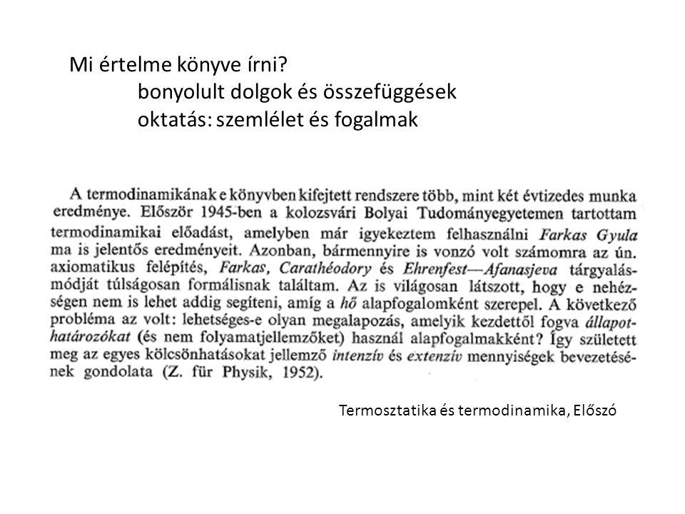 Termosztatika és termodinamika, Előszó Mi értelme könyve írni.