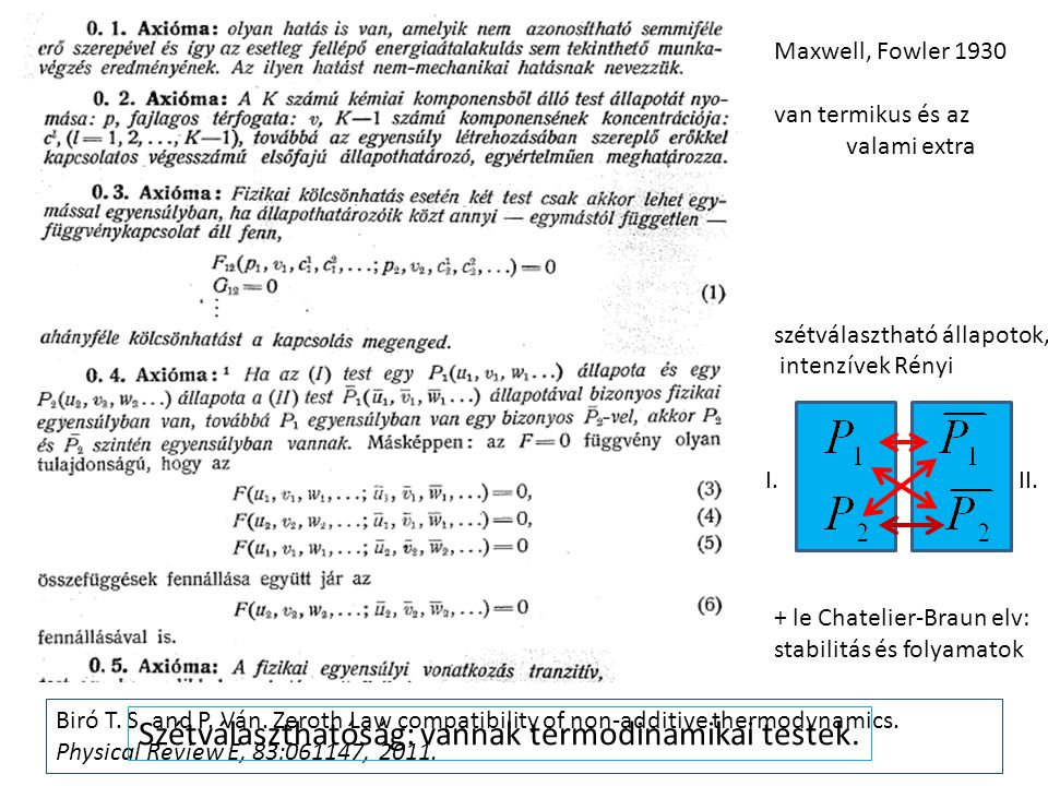 Biró T. S. and P. Ván. Zeroth Law compatibility of non-additive thermodynamics. Physical Review E, 83:061147, 2011. Maxwell, Fowler 1930 van termikus