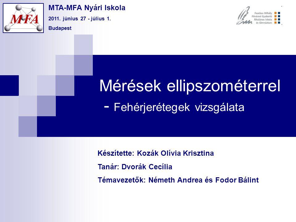 Mérések ellipszométerrel - Fehérjerétegek vizsgálata Készítette: Kozák Olívia Krisztina Tanár: Dvorák Cecília Témavezetők: Németh Andrea és Fodor Báli
