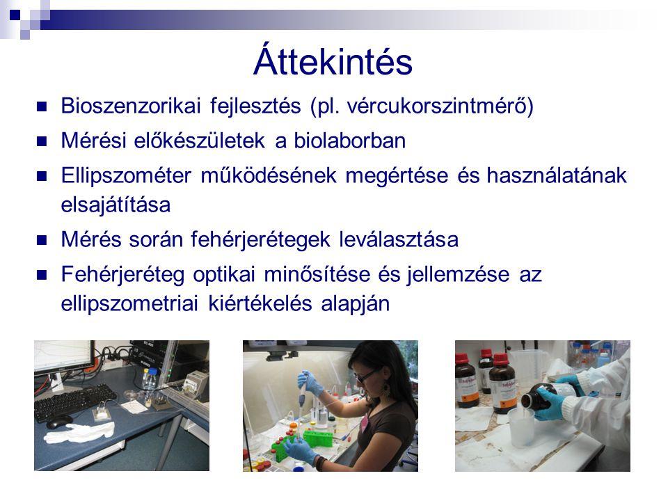 Áttekintés Bioszenzorikai fejlesztés (pl. vércukorszintmérő) Mérési előkészületek a biolaborban Ellipszométer működésének megértése és használatának e
