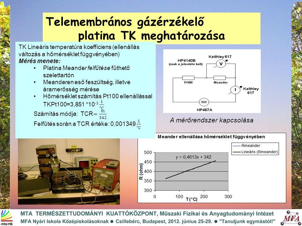 Telemembrános gázérzékelő platina TK meghatározása A mérőrendszer kapcsolása