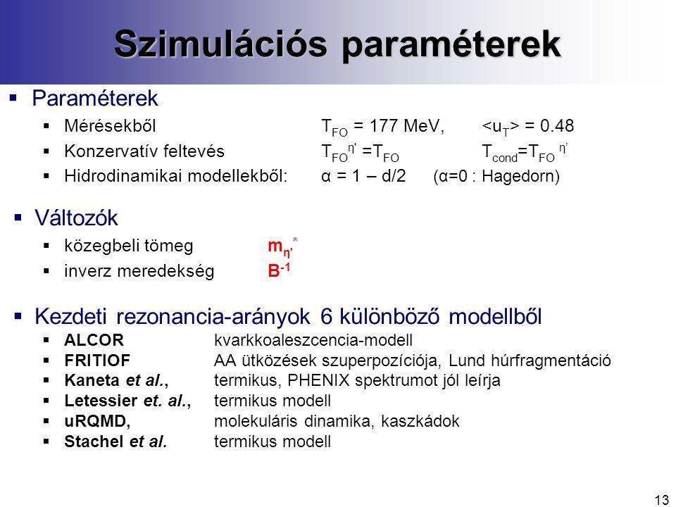 13 Szimulációs paraméterek  Paraméterek  Mérésekből T FO = 177 MeV, = 0.48  Konzervatív feltevésT FO η =T FO T cond =T FO η'  Hidrodinamikai modellekből:α = 1 – d/2 (α=0 : Hagedorn)  Változók  közegbeli tömegm η *  inverz meredekségB -1  Kezdeti rezonancia-arányok 6 különböző modellből  ALCORkvarkkoaleszcencia-modell  FRITIOFAA ütközések szuperpozíciója, Lund húrfragmentáció  Kaneta et al., termikus, PHENIX spektrumot jól leírja  Letessier et.