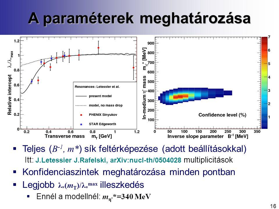 A paraméterek meghatározása  Teljes ( B -1, m* ) sík feltérképezése (adott beállításokkal) Itt: J.Letessier J.Rafelski, arXiv:nucl-th/0504028 multiplicitások  Konfidenciaszintek meghatározása minden pontban  Legjobb λ * (m T )/λ * max illeszkedés  Ennél a modellnél: m η *=340 MeV 16