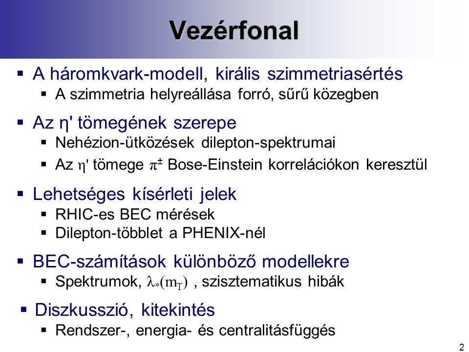 2Vezérfonal  A háromkvark-modell, királis szimmetriasértés  A szimmetria helyreállása forró, sűrű közegben  Az η tömegének szerepe  Nehézion-ütközések dilepton-spektrumai  Az η tömege π ± Bose-Einstein korrelációkon keresztül  Lehetséges kísérleti jelek  RHIC-es BEC mérések  Dilepton-többlet a PHENIX-nél  BEC-számítások különböző modellekre  Spektrumok, λ * (m T ), szisztematikus hibák  Diszkusszió, kitekintés  Rendszer-, energia- és centralitásfüggés