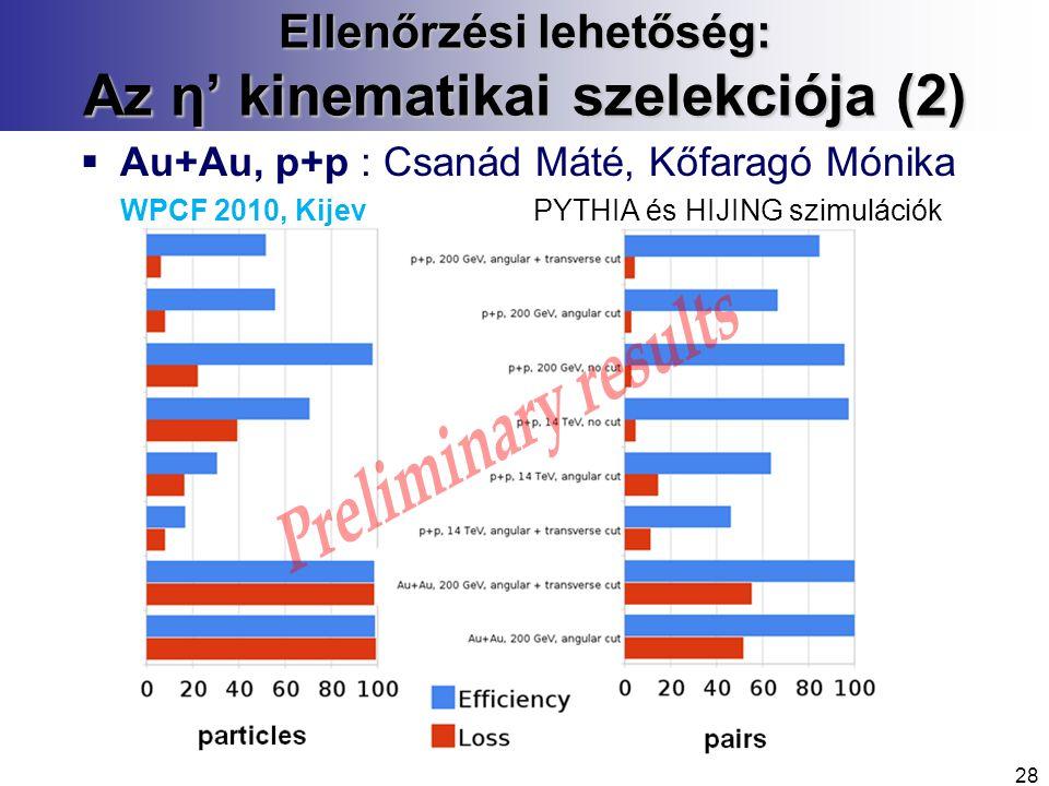 Ellenőrzési lehetőség: Az η' kinematikai szelekciója (2)  Au+Au, p+p : Csanád Máté, Kőfaragó Mónika WPCF 2010, Kijev PYTHIA és HIJING szimulációk 28
