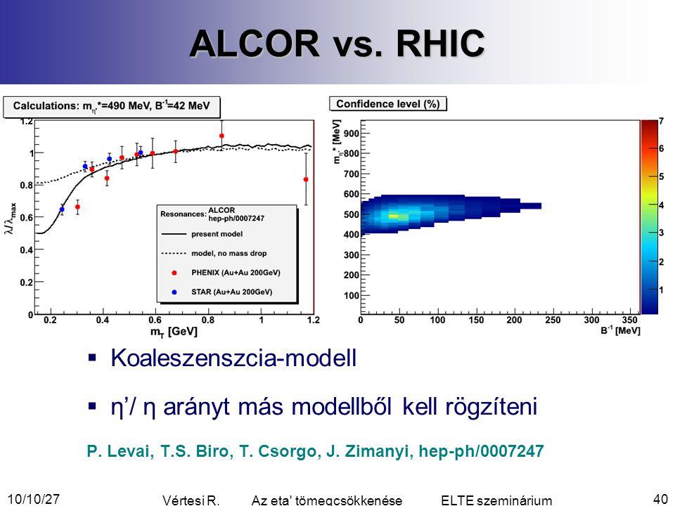10/10/27 Vértesi R. Az eta tömegcsökkenése ELTE szeminárium 40 ALCOR vs.