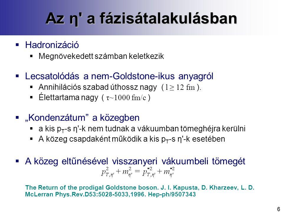 6 Az η a fázisátalakulásban  Hadronizáció  Megnövekedett számban keletkezik  Lecsatolódás a nem-Goldstone-ikus anyagról  Annihilációs szabad úthossz nagy ( l ≥ 12 fm ).