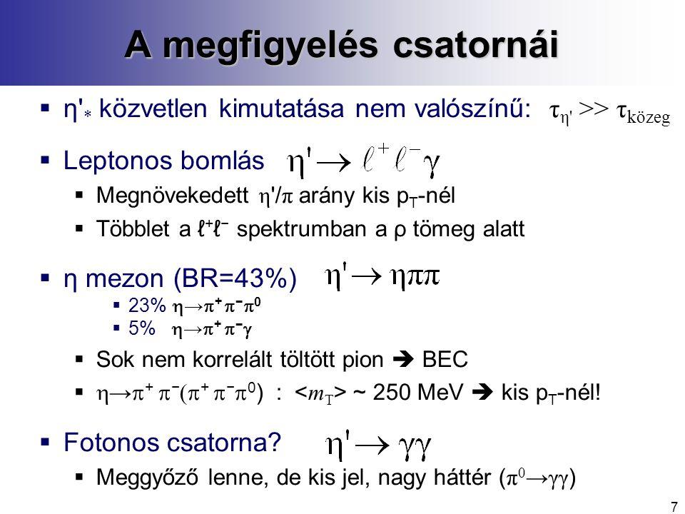 7 A megfigyelés csatornái  η * közvetlen kimutatása nem valószínű: τ η >> τ közeg  Leptonos bomlás  Megnövekedett η / π arány kis p T -nél  Többlet a ℓ + ℓ − spektrumban a ρ tömeg alatt  η mezon (BR=43%)  23%  →  +  −  0  5%  →  +  −   Sok nem korrelált töltött pion  BEC   →  +  −  +  −  0 ) : ~ 250 MeV  kis p T -nél.