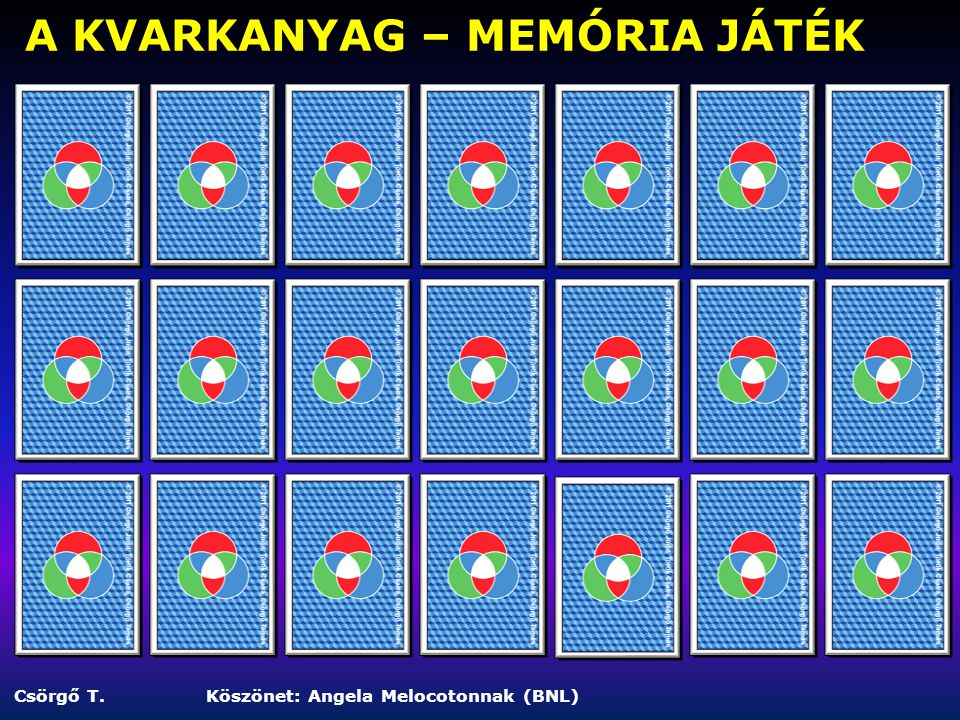 A KVARKANYAG – MEMÓRIA JÁTÉK Csörgő T.Köszönet: Angela Melocotonnak (BNL)