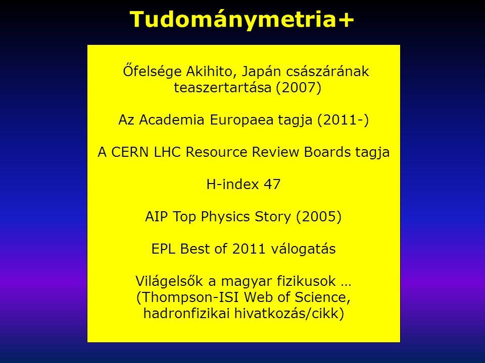 Tudománymetria+ Őfelsége Akihito, Japán császárának teaszertartása (2007) Az Academia Europaea tagja (2011-) A CERN LHC Resource Review Boards tagja H-index 47 AIP Top Physics Story (2005) EPL Best of 2011 válogatás Világelsők a magyar fizikusok … (Thompson-ISI Web of Science, hadronfizikai hivatkozás/cikk)