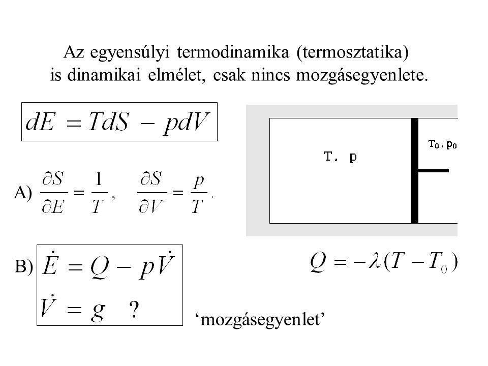 Termodinamika: Statika Dinamika Tömegpont Kontínuum Mechanika: EgyensúlyiNem-egyensúlyi FenomenologikusStatisztikus HomogénKontínuum