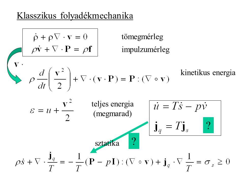 Nemegyensúlyi termodinamika és kvantummechanika Ván Péter BME, Kémiai Fizika Tanszék –Egy komponensű folyadékok Klasszikus elmélet Gyengén nemlokális