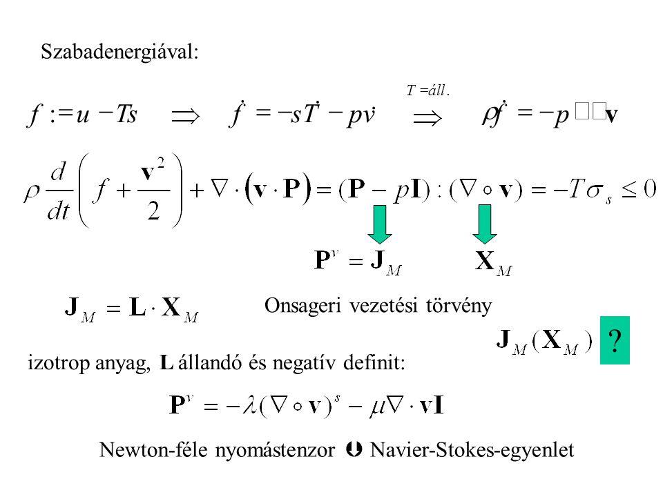 Szabadenergiával: izotrop anyag, L állandó és negatív definit: Newton-féle nyomástenzor  Navier-Stokes-egyenlet Onsageri vezetési törvény .