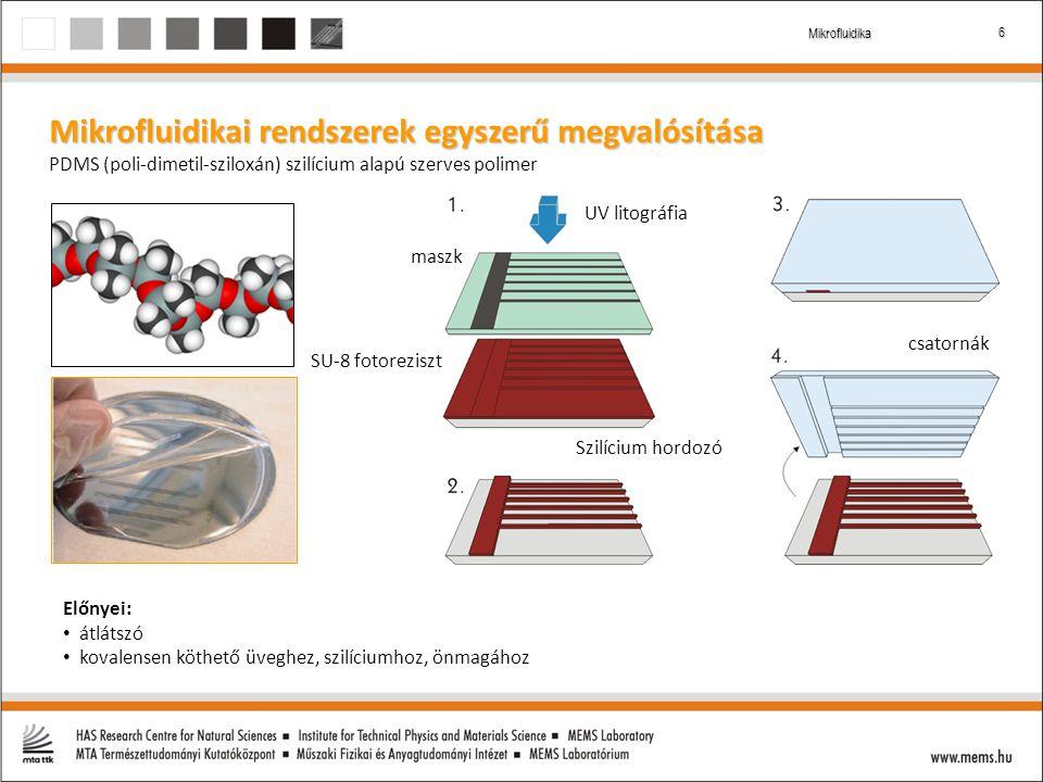 6 Mikrofluidika Mikrofluidikai rendszerek egyszerű megvalósítása PDMS (poli-dimetil-sziloxán) szilícium alapú szerves polimer Szilícium hordozó SU-8 fotoreziszt UV litográfia csatornák maszk Előnyei: átlátszó kovalensen köthető üveghez, szilíciumhoz, önmagához