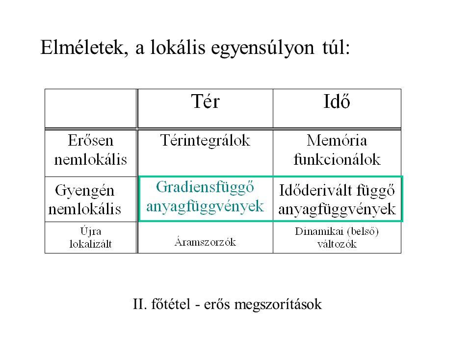 makroszkópikus Termodinamika ( ) kontínuumok általános keretelmélete Termodinamika makroszkópikus energiaváltozások tudománya Termodinamika hőmérséklet tudománya Nemegyensúlyi termodinamika mechanika reverzibilis törvényei – speciális határeset Általános elvek: – objektivitás – II.