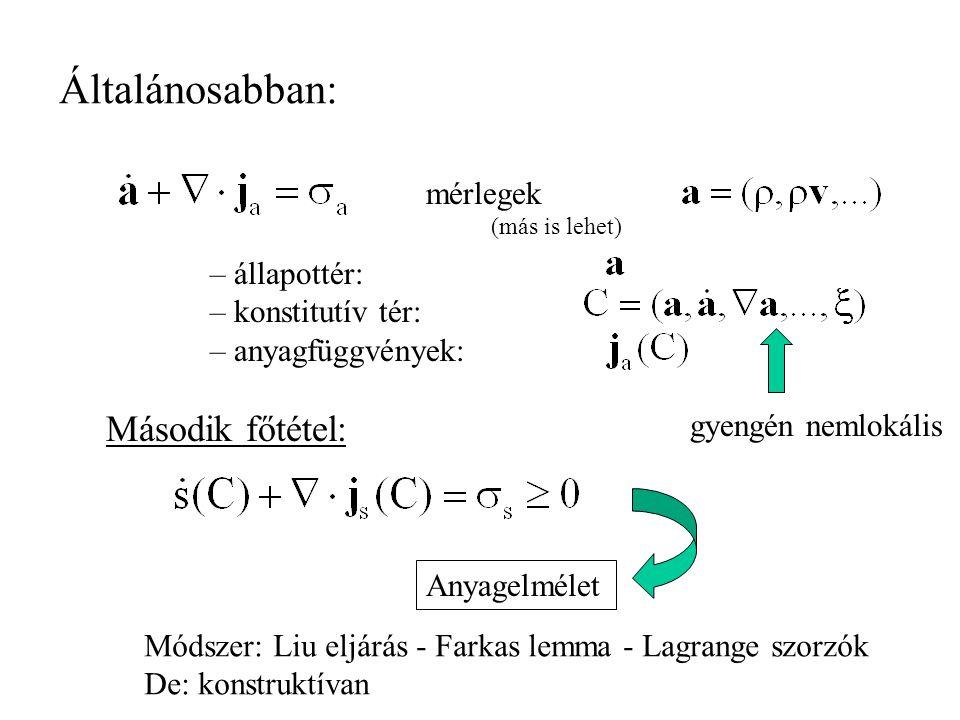 Összefoglalás –Második főtétel Mozgásegyenletek konstrukciója és korrekciója Anyag - jellemzők Prediktív –Újabb eredmények: Objektív: téridőben gyengén nemlokális.