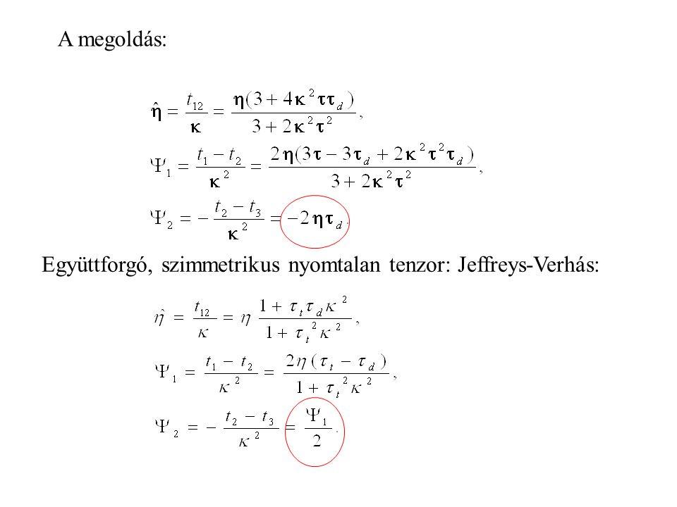 A megoldás: Együttforgó, szimmetrikus nyomtalan tenzor: Jeffreys-Verhás: