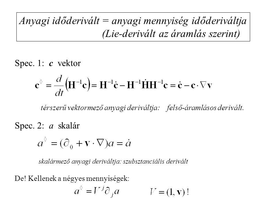 Anyagi időderivált = anyagi mennyiség időderiváltja (Lie-derivált az áramlás szerint) térszerű vektormező anyagi deriváltja: felső-áramlásos derivált.