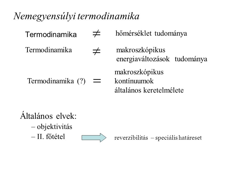 Gyengén nemlokális nemegyensúlyi termodinamika, … Ván Péter BME, Kémiai Fizika Tanszék –Bevezetés –Elvek: II.