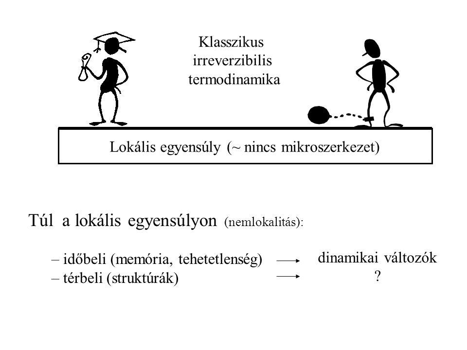 Klasszikus irreverzibilis termodinamika Lokális egyensúly (~ nincs mikroszerkezet) Túl a lokális egyensúlyon (nemlokalitás): – időbeli (memória, tehetetlenség) – térbeli (struktúrák) dinamikai változók ?