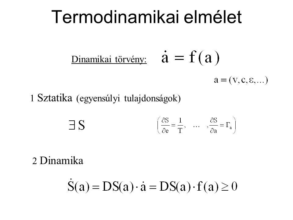 Termodinamikai elmélet Dinamikai törvény: 1 Sztatika (egyensúlyi tulajdonságok) 2 Dinamika