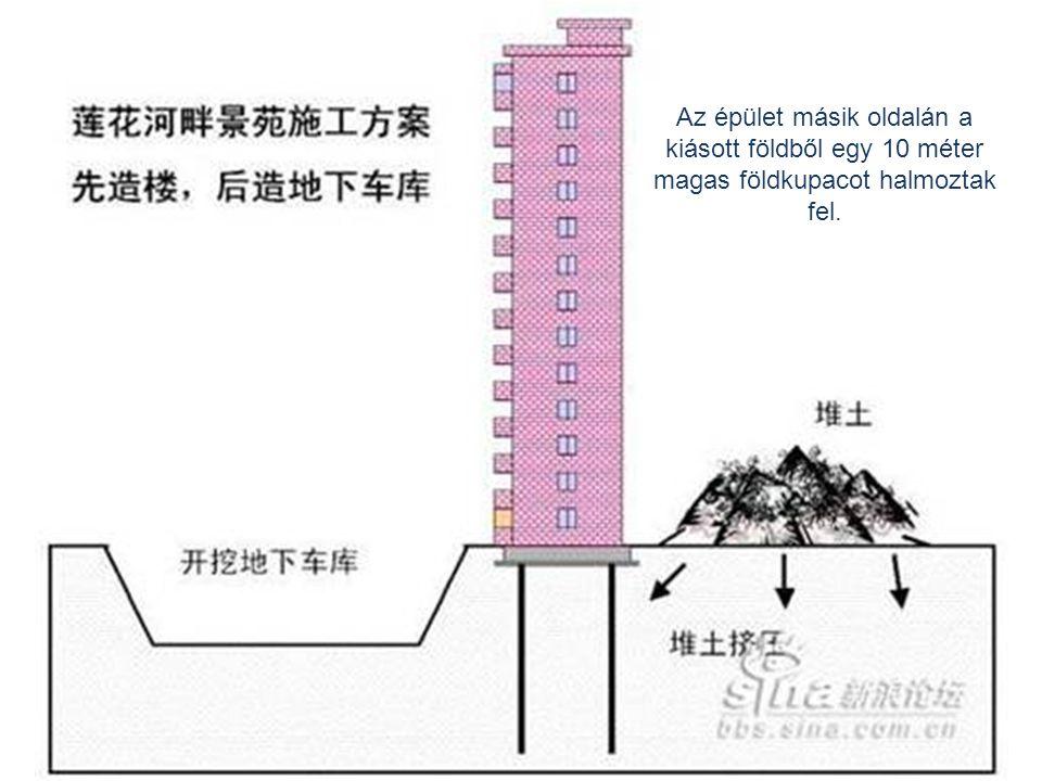 Az épület másik oldalán a kiásott földből egy 10 méter magas földkupacot halmoztak fel.