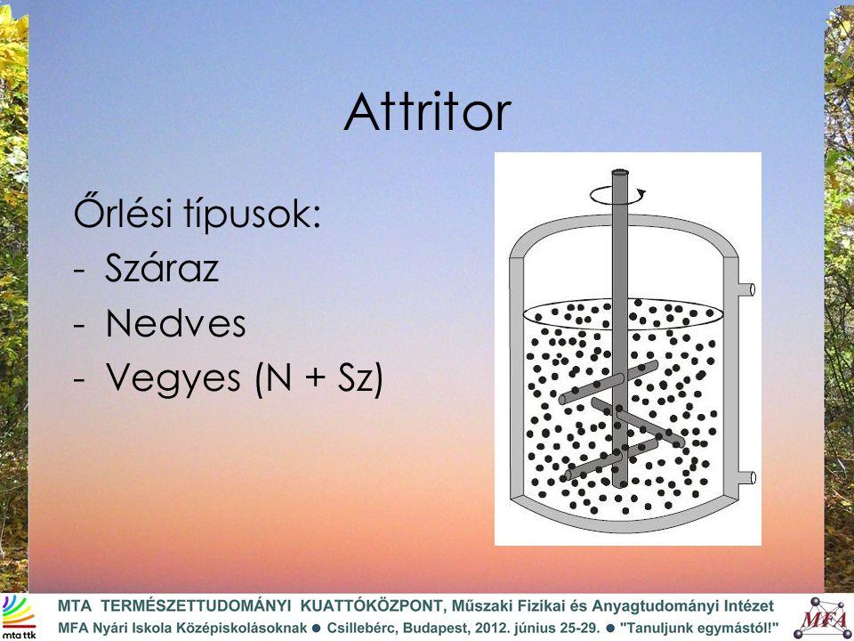 Attritor Őrlési típusok: -Száraz -Nedves -Vegyes (N + Sz)