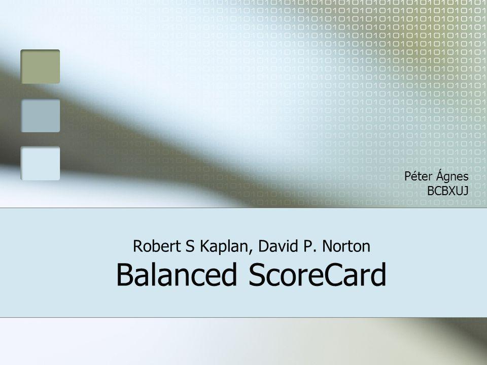 Robert S Kaplan, David P. Norton Balanced ScoreCard Péter Ágnes BCBXUJ