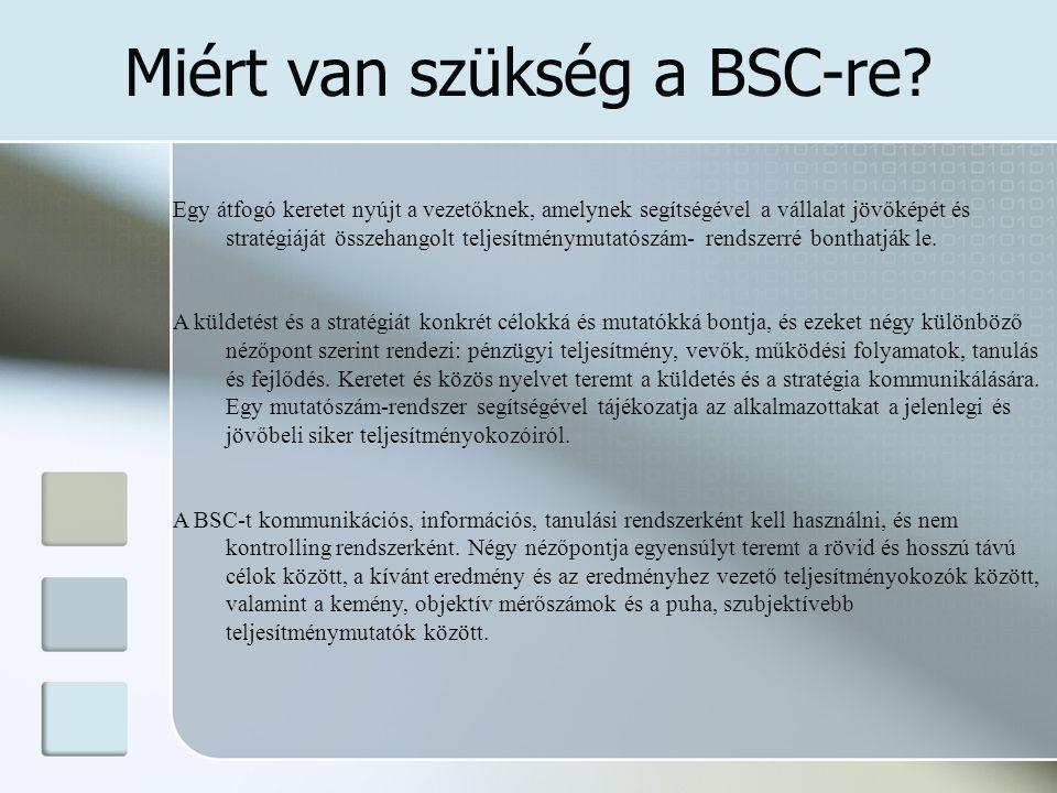 Miért van szükség a BSC-re? Egy átfogó keretet nyújt a vezetőknek, amelynek segítségével a vállalat jövőképét és stratégiáját összehangolt teljesítmén