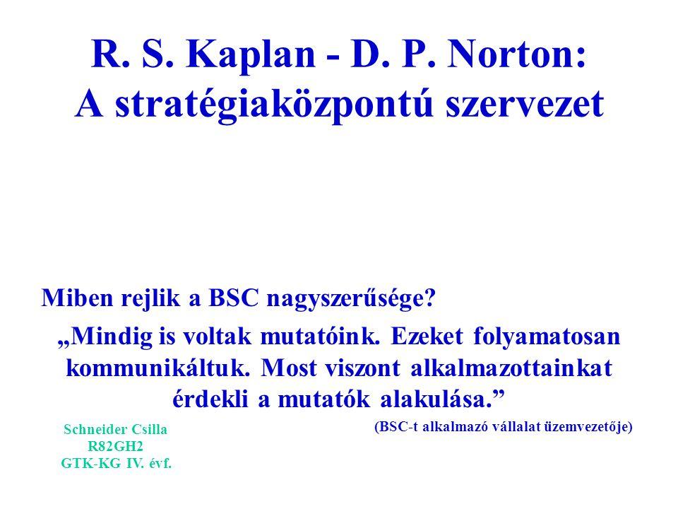 """R. S. Kaplan - D. P. Norton: A stratégiaközpontú szervezet Miben rejlik a BSC nagyszerűsége? """"Mindig is voltak mutatóink. Ezeket folyamatosan kommunik"""
