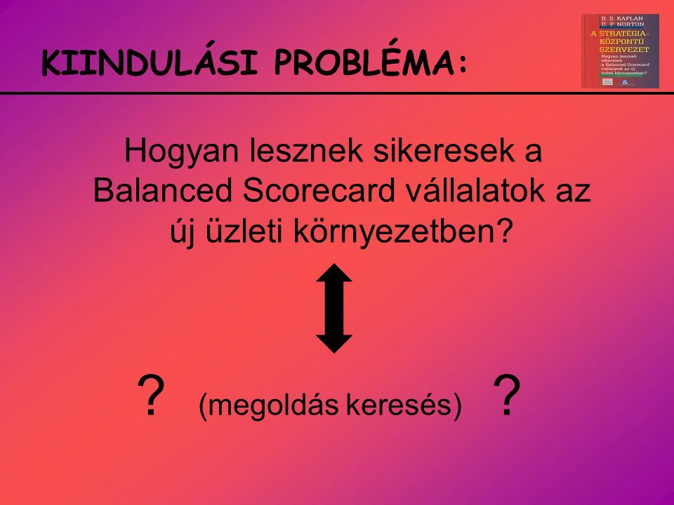 KIINDULÁSI PROBLÉMA: Hogyan lesznek sikeresek a Balanced Scorecard vállalatok az új üzleti környezetben? ? (megoldás keresés) ?