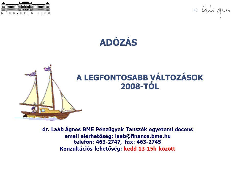 ADÓZÁS © A LEGFONTOSABB VÁLTOZÁSOK 2008-TÓL dr. Laáb Ágnes BME Pénzügyek Tanszék egyetemi docens email elérhetőség: laab@finance.bme.hu telefon: 463-2