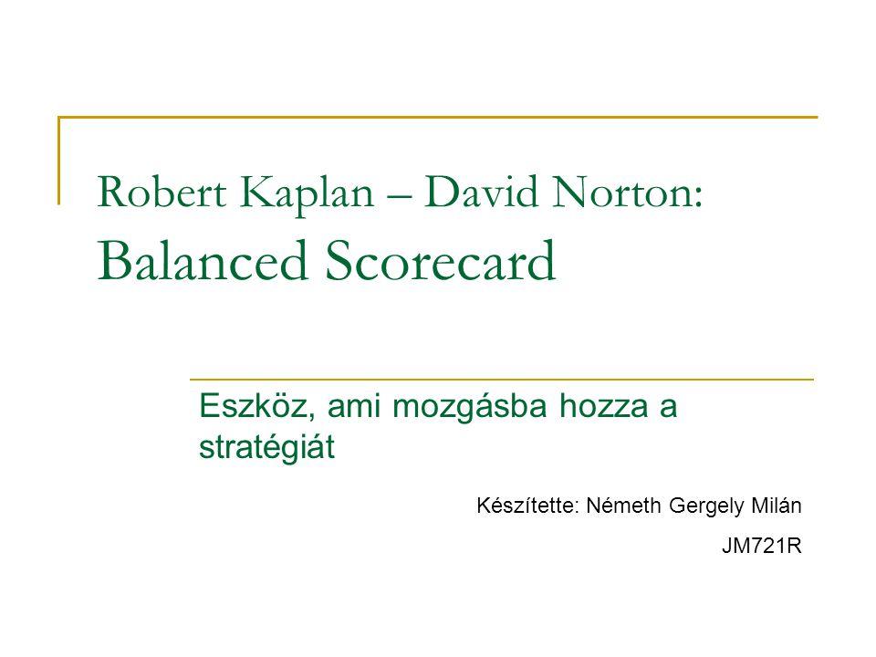 Robert Kaplan – David Norton: Balanced Scorecard Eszköz, ami mozgásba hozza a stratégiát Készítette: Németh Gergely Milán JM721R