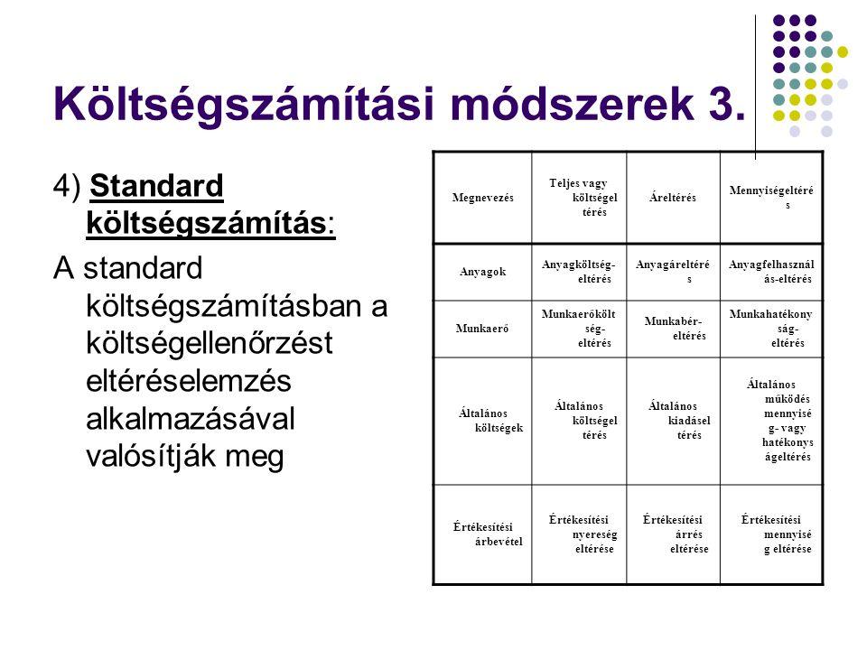 Költségszámítási módszerek 3.