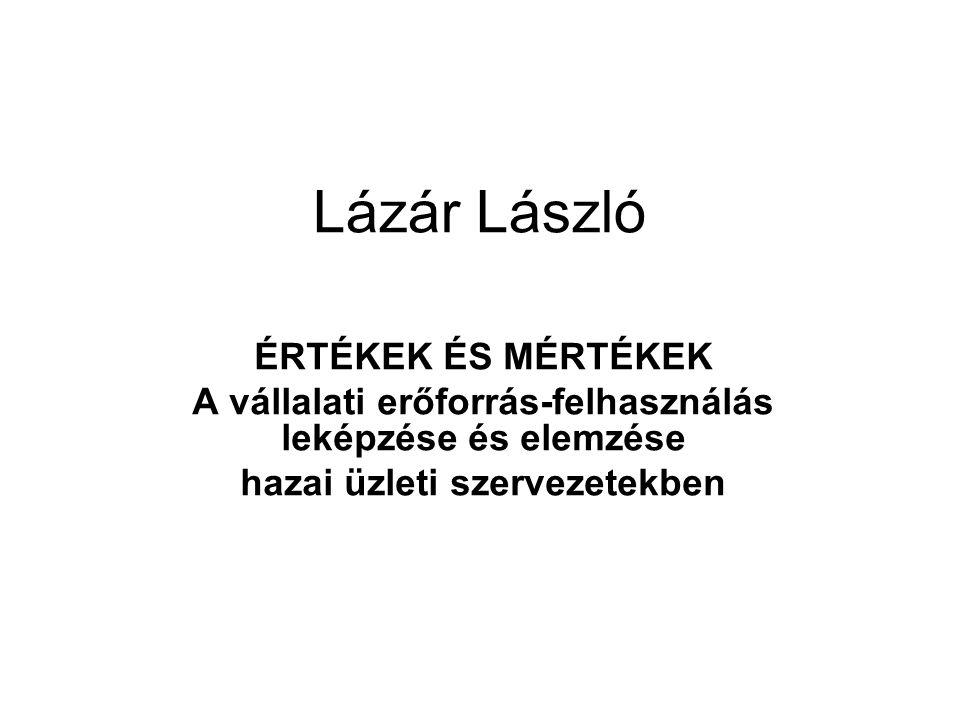 Lázár László ÉRTÉKEK ÉS MÉRTÉKEK A vállalati erőforrás-felhasználás leképzése és elemzése hazai üzleti szervezetekben
