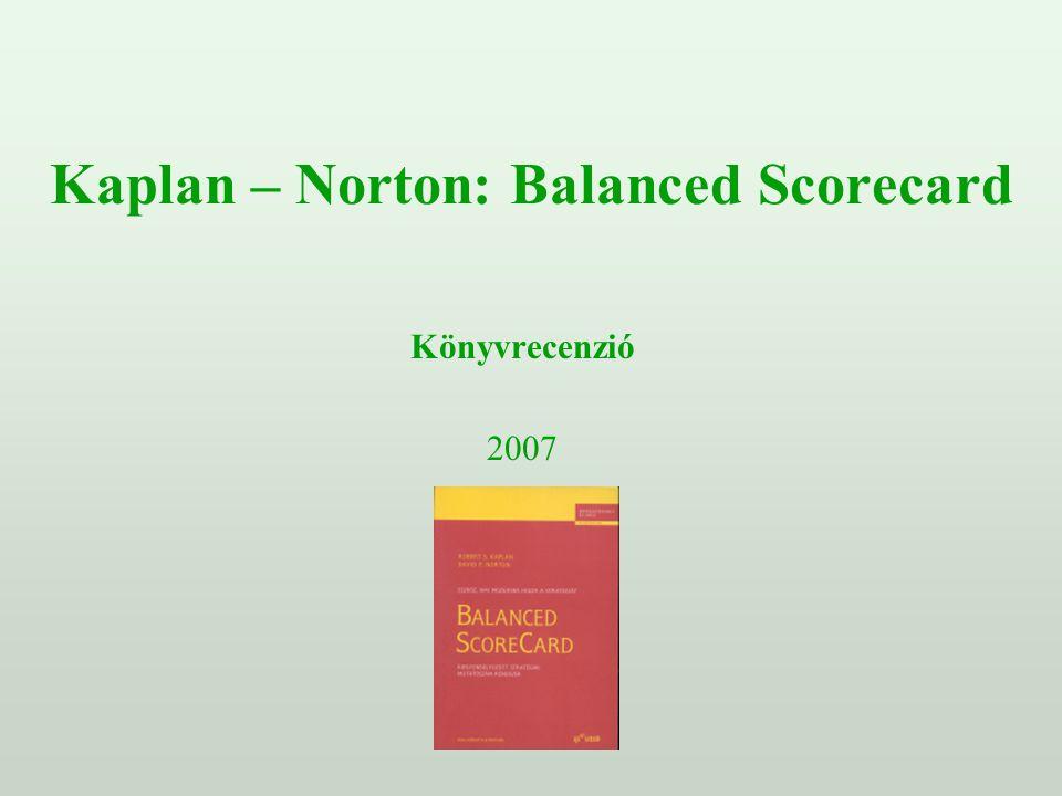Kaplan - Norton: Balanced Scorecard könyvrecenzió Szakkönyv:Robert S.