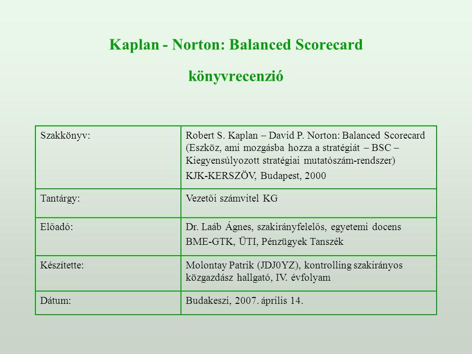 Kaplan - Norton: Balanced Scorecard könyvrecenzió Szakkönyv:Robert S. Kaplan – David P. Norton: Balanced Scorecard (Eszköz, ami mozgásba hozza a strat